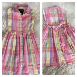 Ralph Lauren Girls 24M 2T Madras Pink Plaid Dress